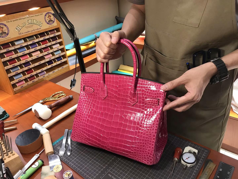 爱马仕 HERMES 铂金包 Birkin 25cm 配全套专柜原版包装 全球发售 鳄鱼 Rose Tyrien 糖果粉 E5