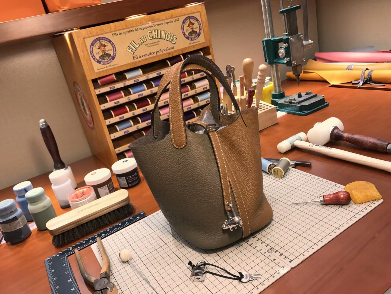 爱马仕 HERMES 菜篮子 Picotin 配全套专柜原版包装 全球发售 ck18 大象灰 etoupe 拼 ck37金棕色gold