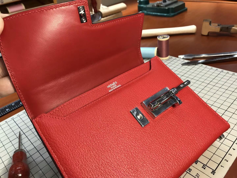 HERMES 爱马仕 手枪包 Verrou Chain S5番茄红RougeTomate 配全套专柜原版包装