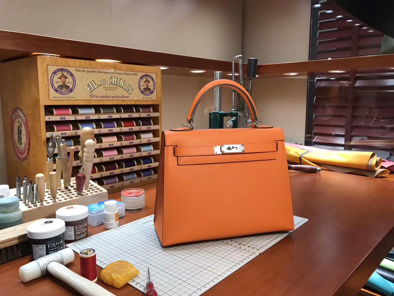 经典橙色 CK93 Orange 银扣 Kelly 28CM 现货系列 HERMES 爱马仕