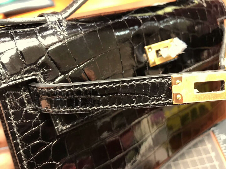 Mini Kelly Pochette 22cm 1代 晚宴包 手拿包 亮面鳄鱼 BLACK 黑色 金扣