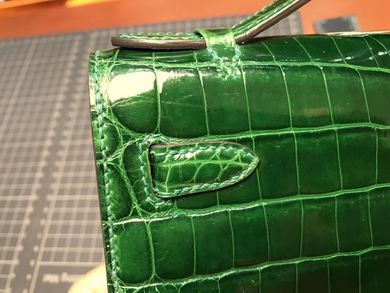 Mini Kelly Pochette 22cm 1代 晚宴包 手拿包 亮面鳄鱼 CK67 Vert Fonce 祖母绿 金扣