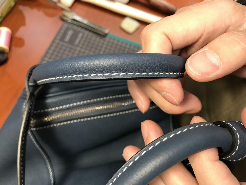 爱马仕 HERMES Lindy 26/30cm CKN7风暴蓝BleuTempete 银扣 配全套专柜原版包装