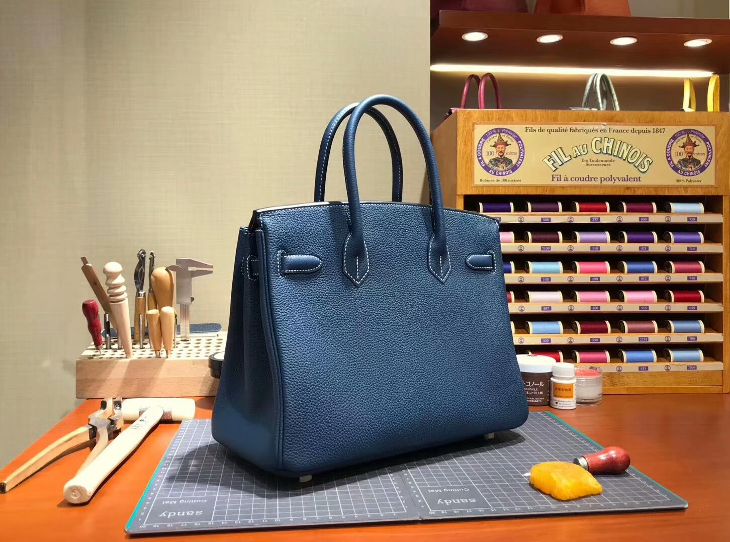 爱马仕 HERMES 铂金包 Birkin 30cm 配全套专柜原版包装 全球发售 2Z午夜蓝BlueNuit
