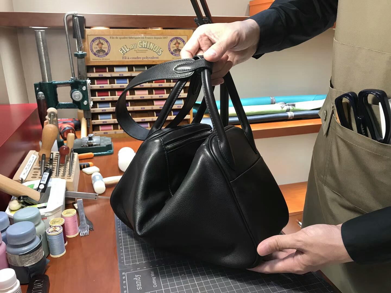 爱马仕 HERMES Lindy 26/30cm swift 89 黑色 noir 银扣 配全套专柜原版包装