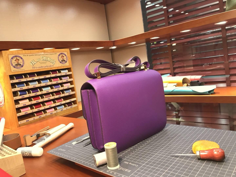 HERMES 爱马仕 空姐包 Constance p9anemone海葵紫 配全套专柜原版包装