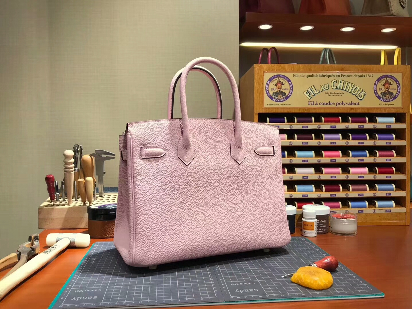 爱马仕 HERMES 铂金包 Birkin 30cm 配全套专柜原版包装 全球发售 3Q 水粉色 rose sakura