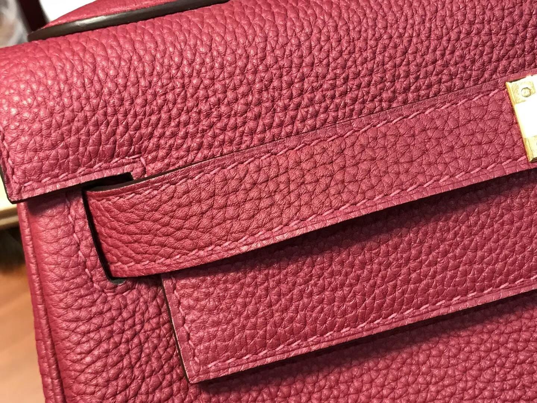 HERMES 爱马仕 ruby宝石红b5Kelly 28CM Togo皮 纯手工蜡线 法国TR级别的进口皮料 配全套专柜包装发票