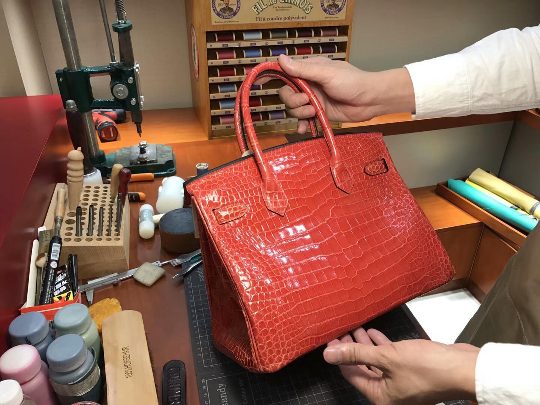爱马仕 HERMES 铂金包 Birkin 25cm 配全套专柜原版包装 全球发售 鳄鱼 5K艳橙色蜜橘色橘红色TangerineOrange