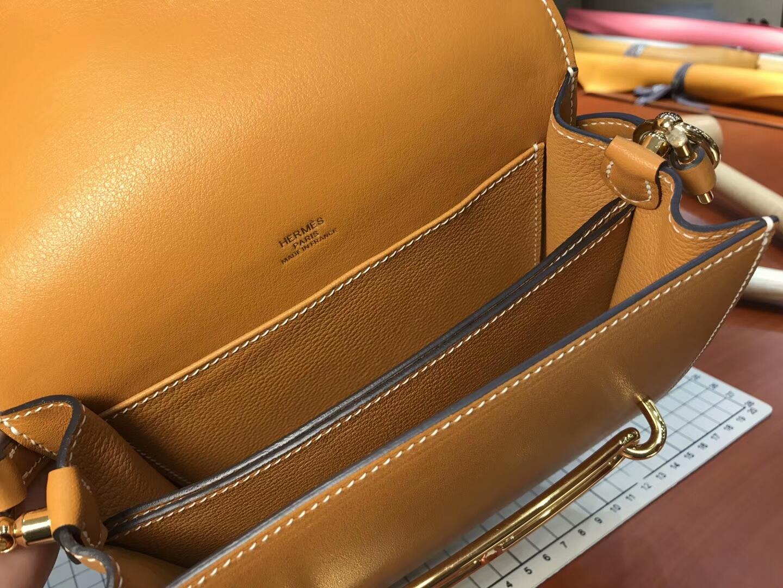 猪鼻子包 Roulis HERMES 爱马仕 金棕ck37gold 配全套专柜原版包装