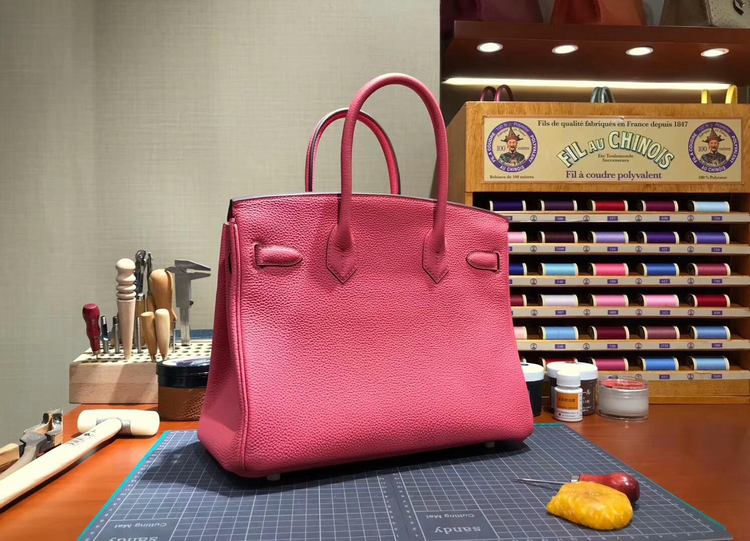 爱马仕 HERMES 铂金包 Birkin 30cm 配全套专柜原版包装 全球发售 8wRoseAzalea新唇膏粉