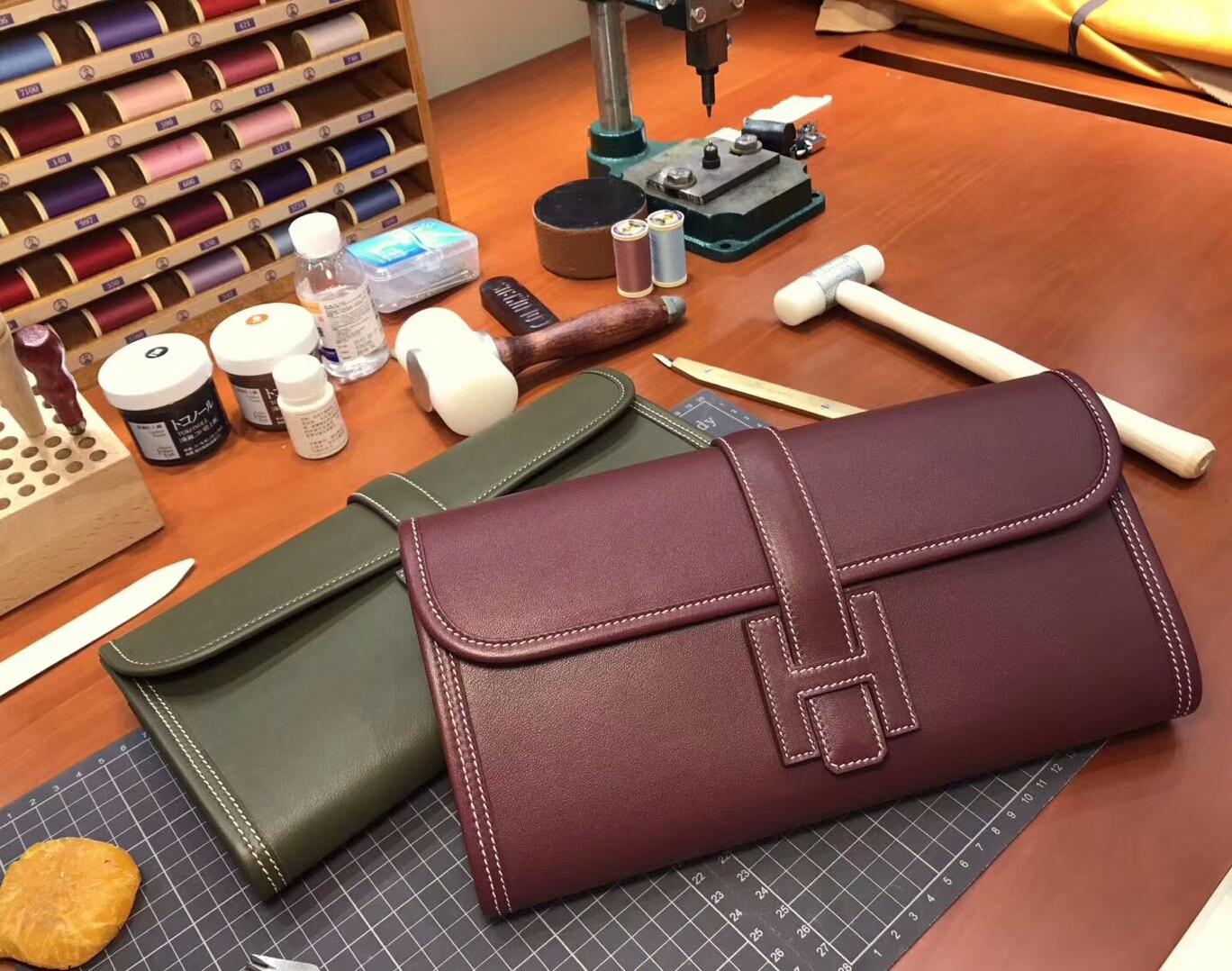 HERMES 爱马仕 手包 配全套专柜原版包装 全球发售 波尔多酒红 ck57 bordeaux