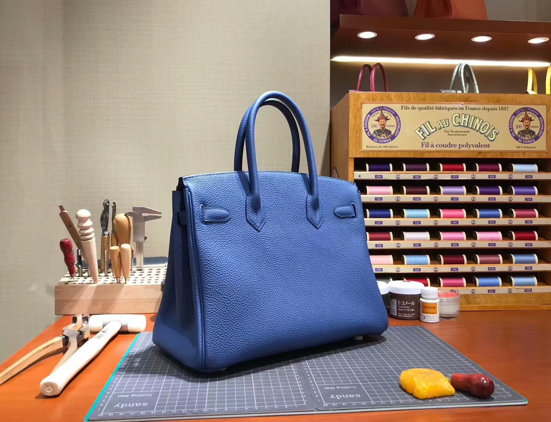 爱马仕 HERMES 铂金包 Birkin 30cm 配全套专柜原版包装 全球发售 R2 Blue Agate 玛瑙蓝