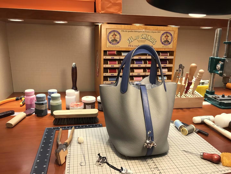 爱马仕 HERMES 菜篮子 Picotin 配全套专柜原版包装 全球发售 4z 海鸥灰 gris mouette 拼 r2 玛瑙蓝 blue agate