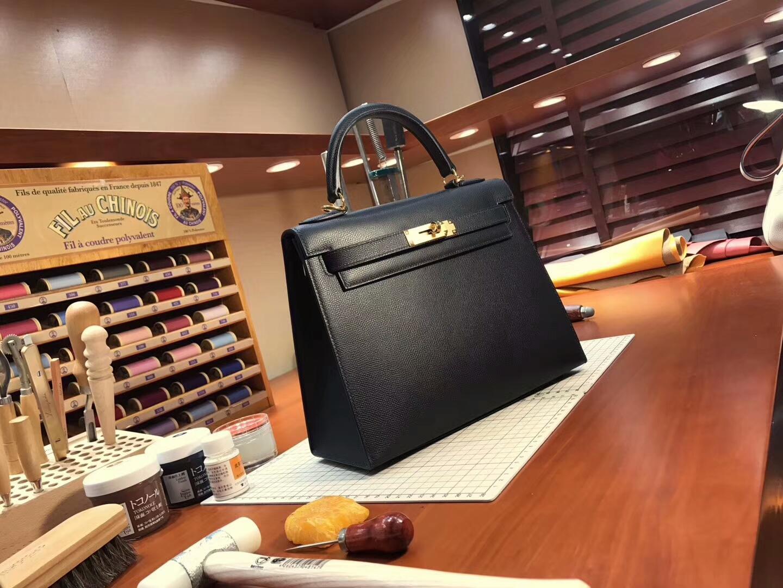 HERMES 爱马仕Kelly  28CM 现货系列 配全套专柜原版包装 经典黑色 金扣