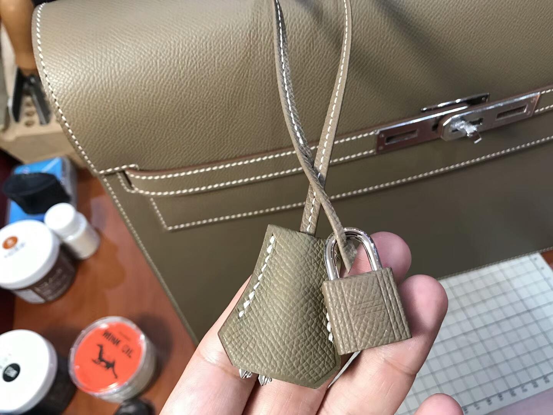 HERMES 爱马仕 男士公文包 大象灰 CK18Etoupe  现货系列 配全套专柜原版包装 银扣
