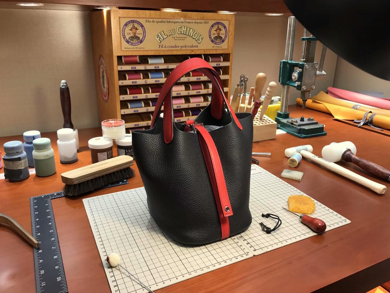 爱马仕 HERMES 菜篮子 Picotin 配全套专柜原版包装 全球发售 black 黑色 拼 爱马仕红 H红 rouge H