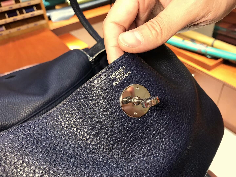爱马仕 HERMES Lindy 26/30cm 宝石蓝 ck73 blue saphir 银扣 配全套专柜原版包装