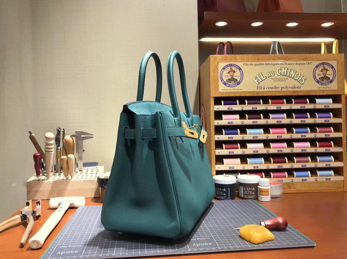 爱马仕 HERMES 铂金包 Birkin 30cm 配全套专柜原版包装 全球发售 6Q翡翠绿 Vert Emeraude