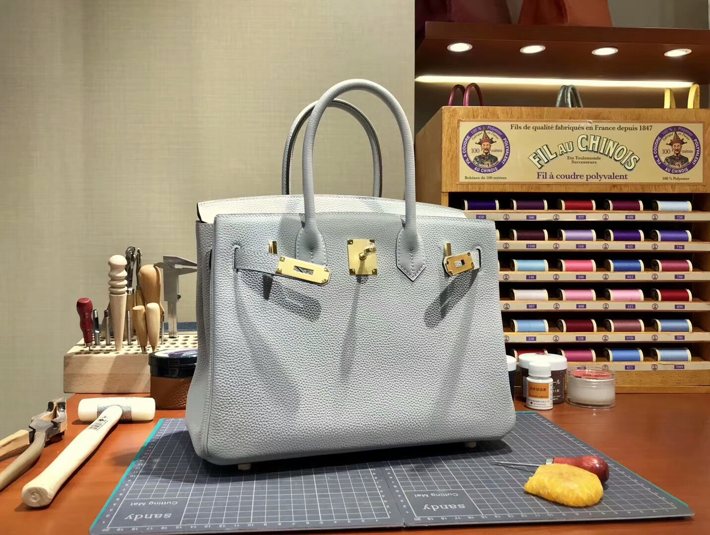 爱马仕 HERMES 铂金包 Birkin 30cm 配全套专柜原版包装 全球发售 珍珠灰 cc80 pearl grey