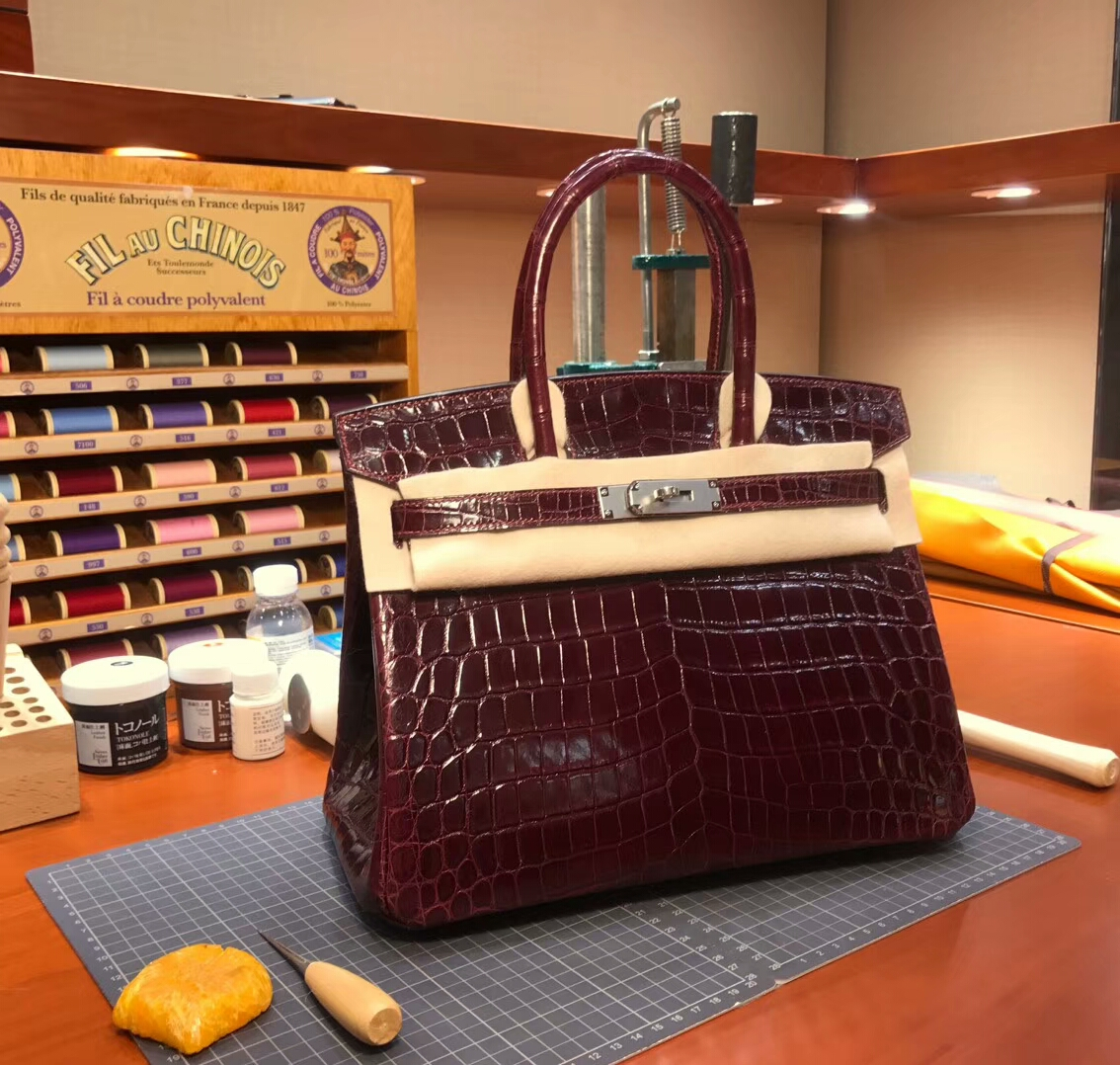 F5 勃艮第酒红色 Bourgogne 爱马仕 HERMES 铂金包 Birkin 配全套专柜原版包装 全球发售
