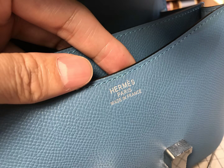 HERMES 爱马仕 空姐包 Constance  r2玛瑙蓝blueagate 银扣