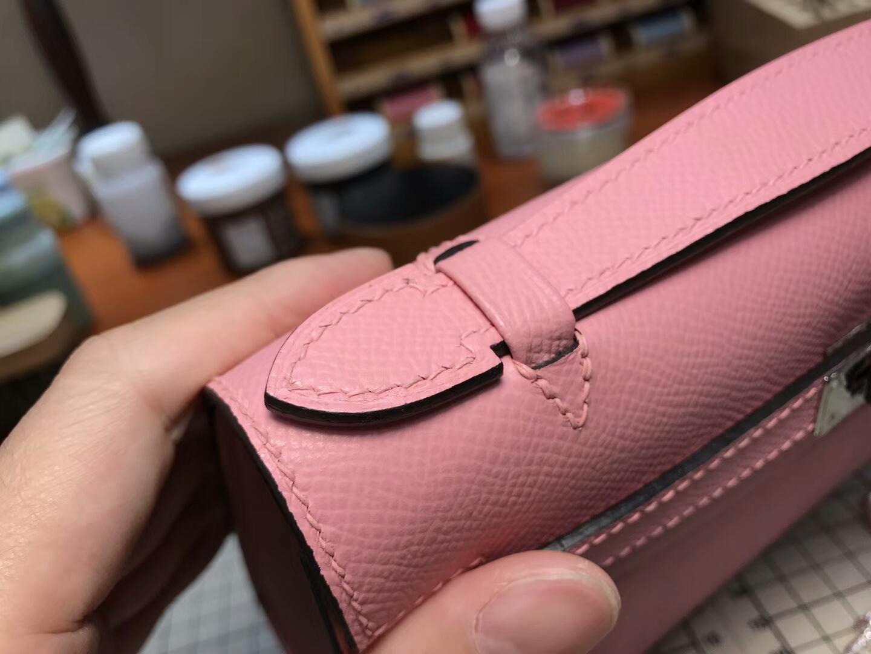HERMES 爱马仕 迷你凯莉 MiniKelly 8w新唇膏粉新玫瑰粉roseazalee 银扣 全球发售