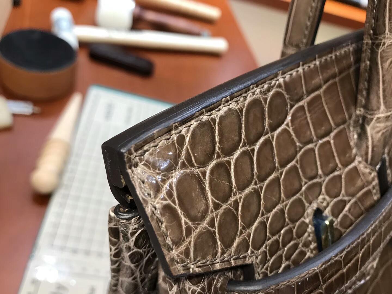 爱马仕 HERMES 铂金包 Birkin 25cm 配全套专柜原版包装 全球发售 鳄鱼 深啡色