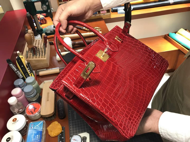 爱马仕 HERMES 铂金包 Birkin 25cm 配全套专柜原版包装 全球发售 鳄鱼 F5勃艮第酒红色Bourgogne