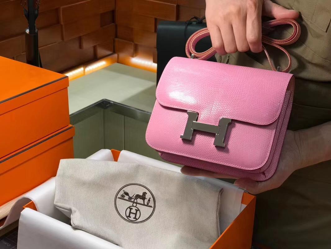 Hermes 爱马仕 空姐包 Constance 蜥蜴皮 8W新唇膏粉新玫瑰粉RoseAzalee 定制15-20天发货 配全套专柜原版包装
