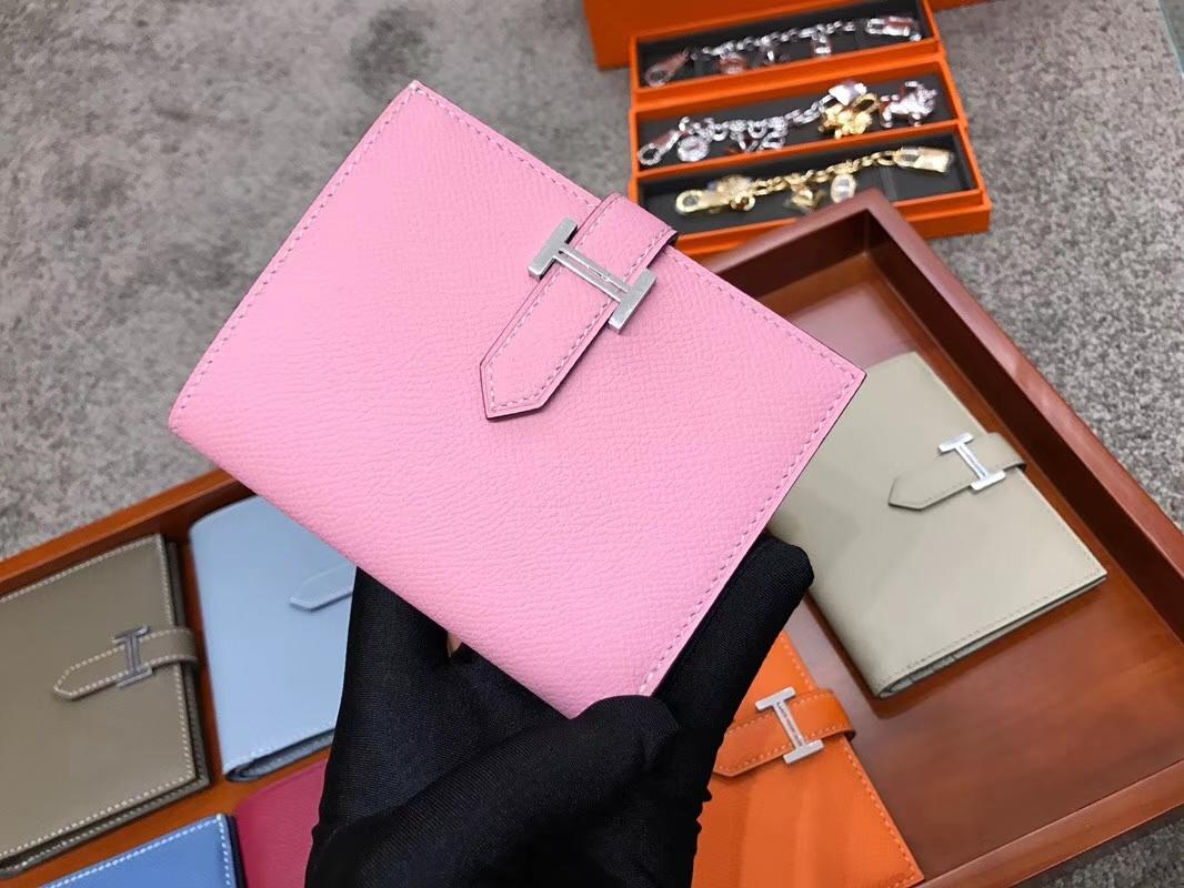 Bearn 短款H扣钱包 Swift 现货系列 rose sakura 水粉色 3q