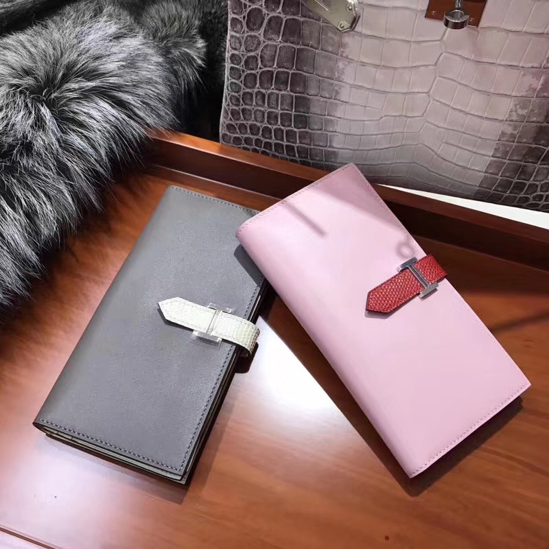 Bearn长款H扣钱包 蜥蜴皮搭扣 5p 樱花粉/8F Etain 银锡灰 锡器灰