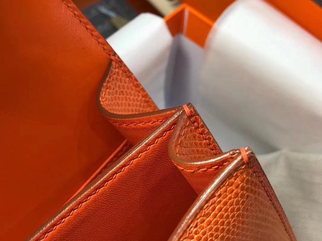 Hermes 爱马仕 空姐包 Constance 蜥蜴皮 经典橙色 CK93 Orange 定制15-20天发货 配全套专柜原版包装