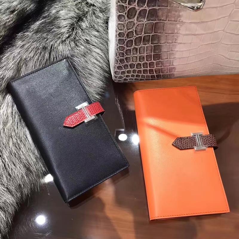 Bearn长款H扣钱包 蜥蜴皮搭扣 89黑色 Noir/CC93 Orange 橙色 橘色