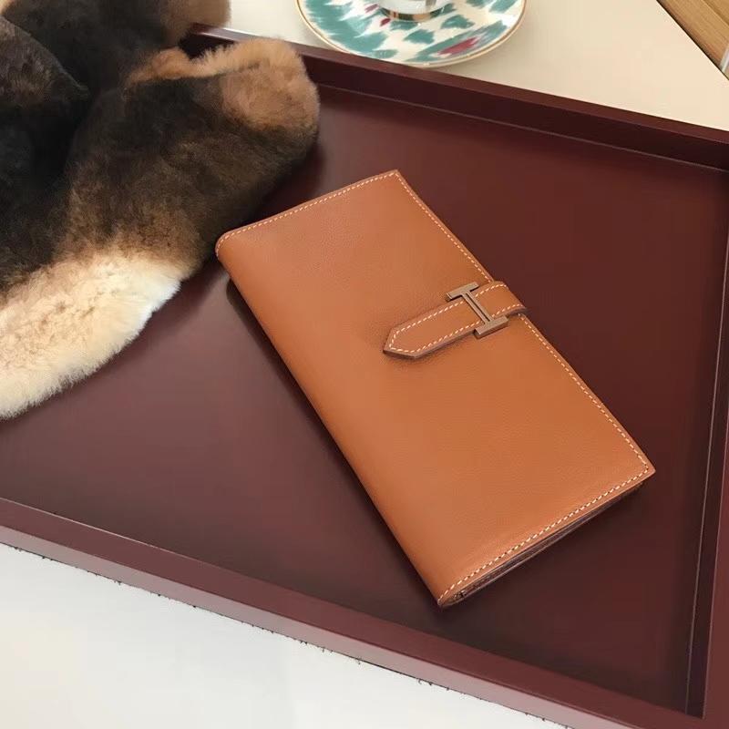 Bearn长款H扣钱包 ck37金棕色gold 配全套专柜原版包装