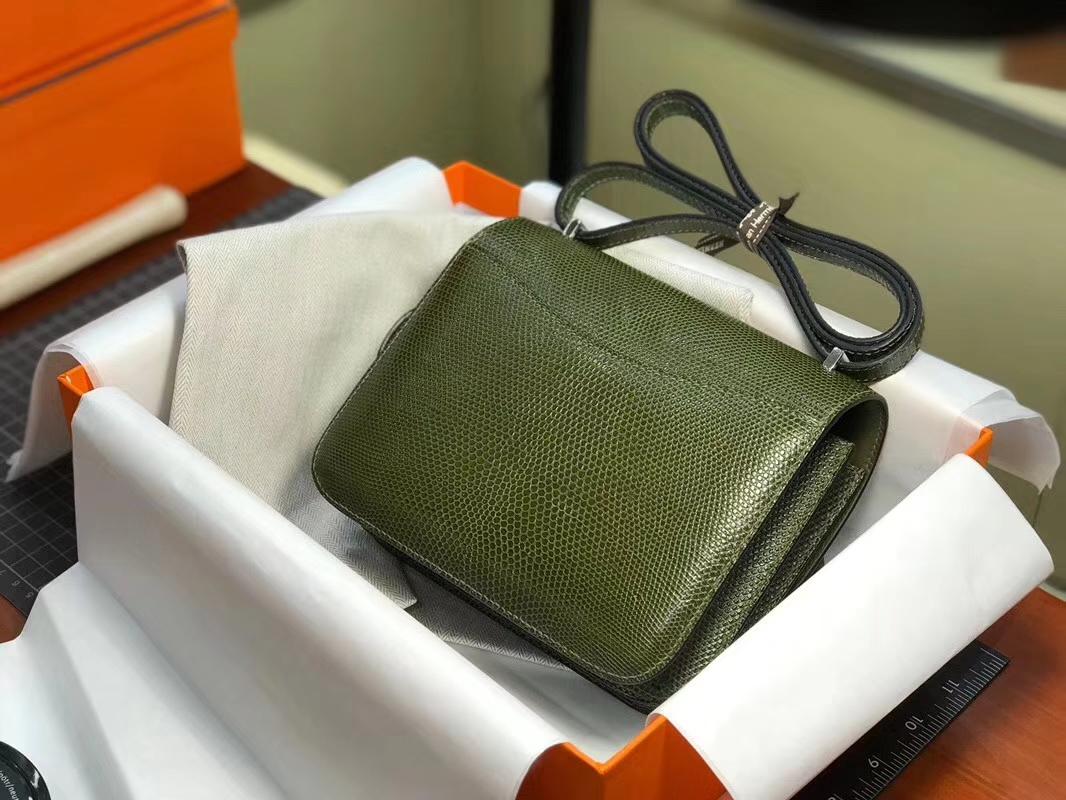 Hermes 爱马仕 空姐包 Constance 蜥蜴皮 6HVeronese橄榄绿 定制15-20天发货 配全套专柜原版包装