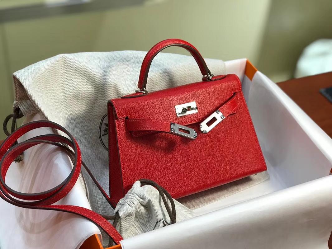 HERMES 爱马仕 Mini Kelly || 20cm 山羊皮 Q5 国旗红 Rouge Casaque