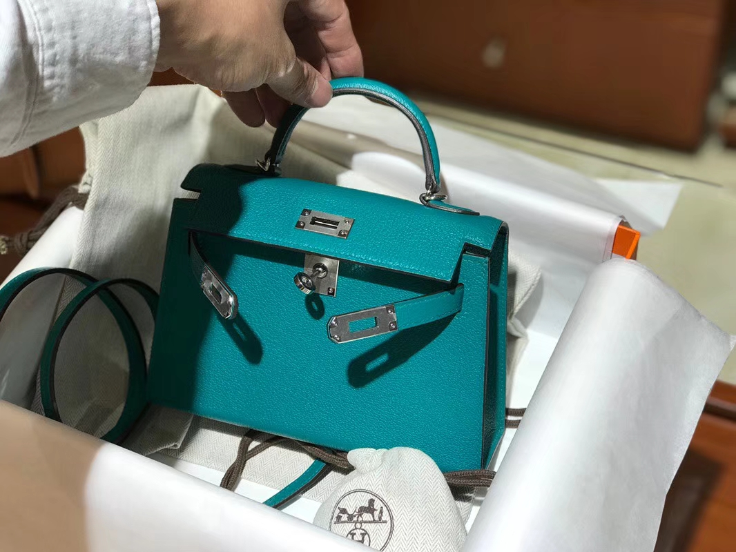 HERMES 爱马仕 Mini Kelly || 20cm 山羊皮7F 孔雀蓝 Blue Paon
