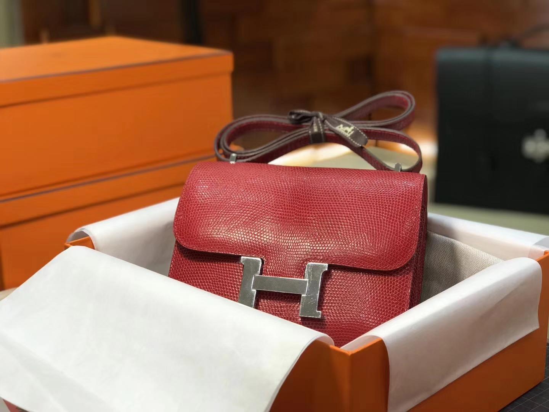 Hermes 爱马仕 空姐包 Constance 蜥蜴皮 s5番茄红rougetomate 定制15-20天发货 配全套专柜原版包装