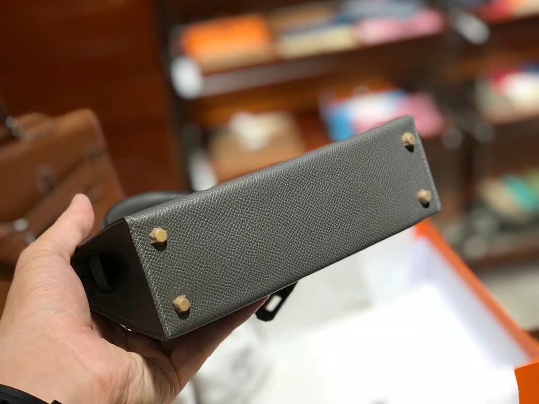 HERMES 爱马仕 Mini Kelly    20cm Epsom 8F 锡器灰 Etain