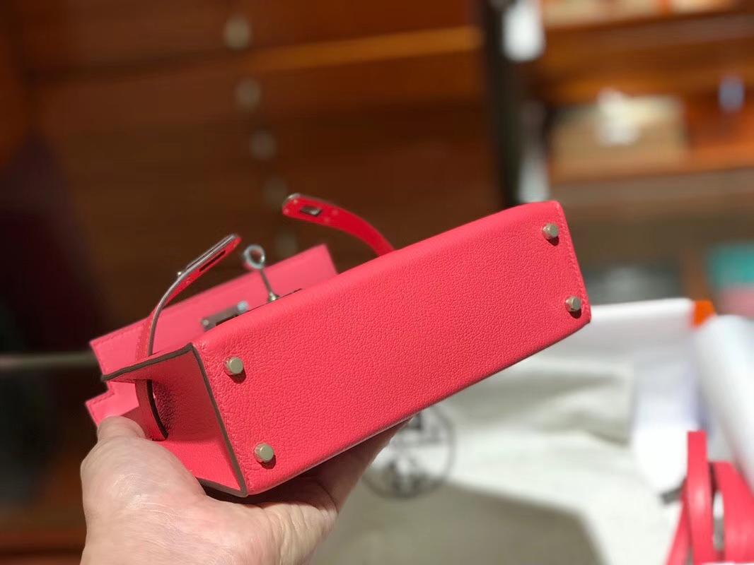 HERMES 爱马仕 Mini Kelly || 20cm 山羊皮 U5 唇膏粉 Rose lipsui