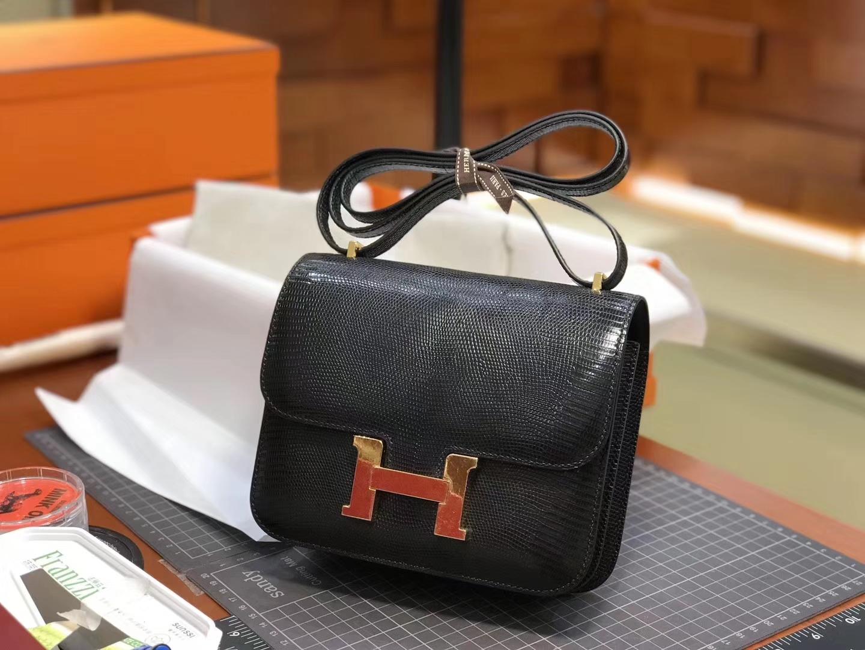 Hermes 爱马仕 空姐包 Constance 蜥蜴皮89 Nior 黑色 定制15-20天发货 配全套专柜原版包装
