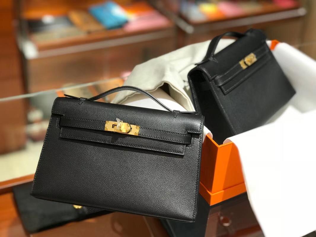HERMES Mini Kelly 22cm 手拎包 89黑色Noir