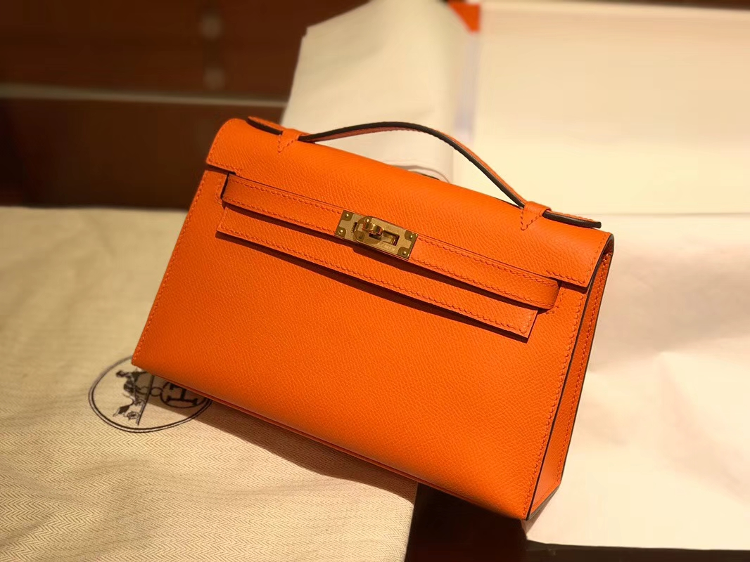 HERMES 爱马仕 Mini Kelly 22cm 手拎包 93橙色Orange