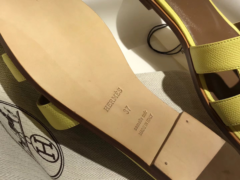 HERMES 爱马仕 H经典款拖鞋高端订制独家品质柠檬黄