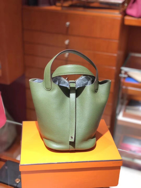 爱马仕 HERMES 菜篮子 Picotin 配全套专柜原版包装 全球发售 Togo皮 6H橄榄绿vert veronese