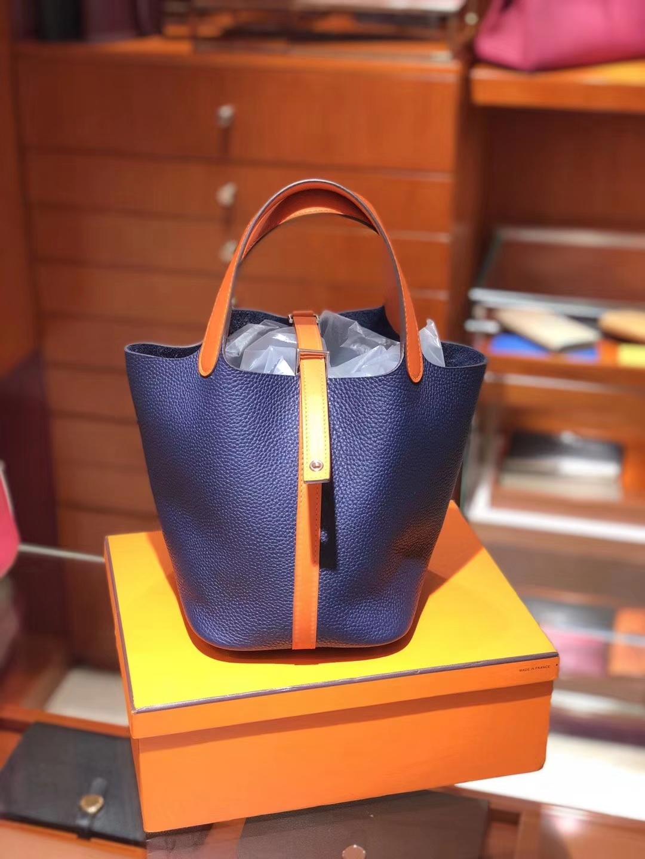 爱马仕 HERMES 菜篮子 Picotin CKN7 风暴蓝 Bleu Tempete 橙色 配全套专柜原版包装 全球发售 Togo皮