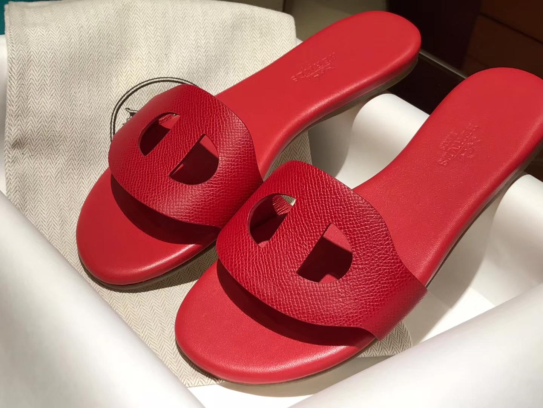 HERMES 爱马仕 猪鼻子拖鞋高端订制独家品质大红