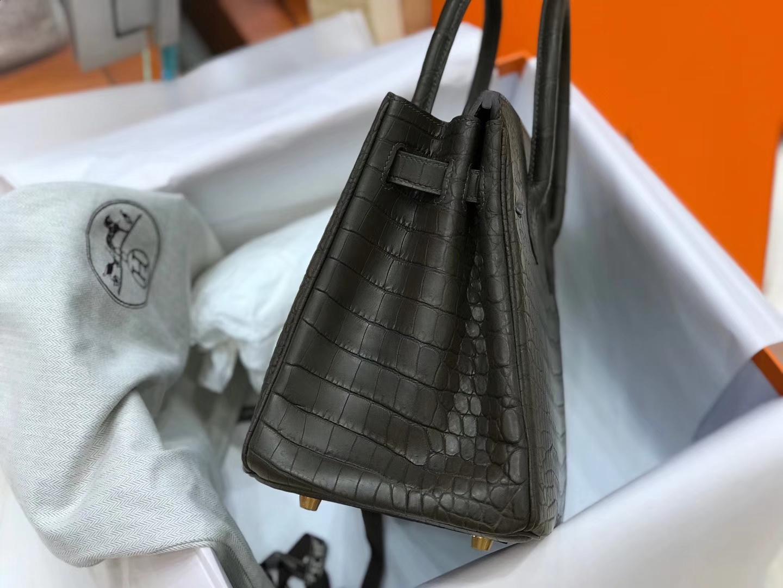 爱马仕 HERMES Birkin 25cm 鳄鱼皮 现货 cc88 石墨黑 石墨灰 黑灰色 graphite
