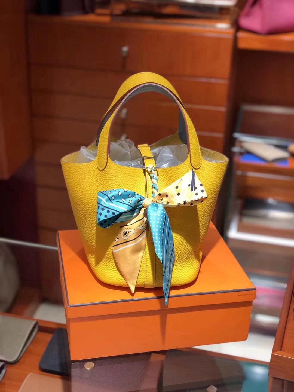 爱马仕 HERMES 菜篮子 Picotin 配全套专柜原版包装 全球发售 Togo皮 9v 太阳黄 jaune